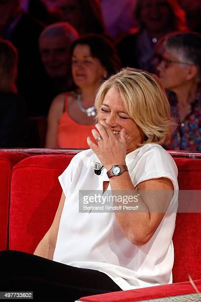 Main Guest of the show Marina Carrere d'Encausse Laughs during the projection of the bloopers of her TV Medical Show during 'Vivement Dimanche' TV...