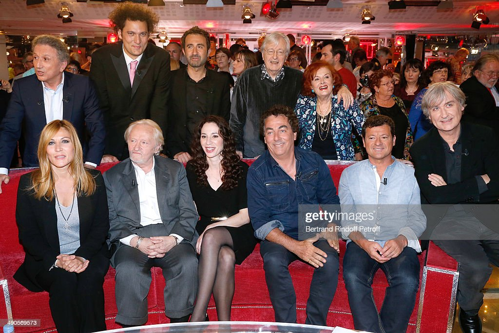Main guest of the show Mathilde Seigner, Niels Arestrup, his wife Isabelle Le Nouvel, Eric Carriere, Francis Ginibre, Jean Plantu, (back L-R) Michel Drucker, Eric Antoine, Mathieu madenian, Louis velle and his wife Frederique Hebrard attend the 'Vivement Dimanche' French TV show at Pavillon Gabriel on May 14, 2014 in Paris, France.
