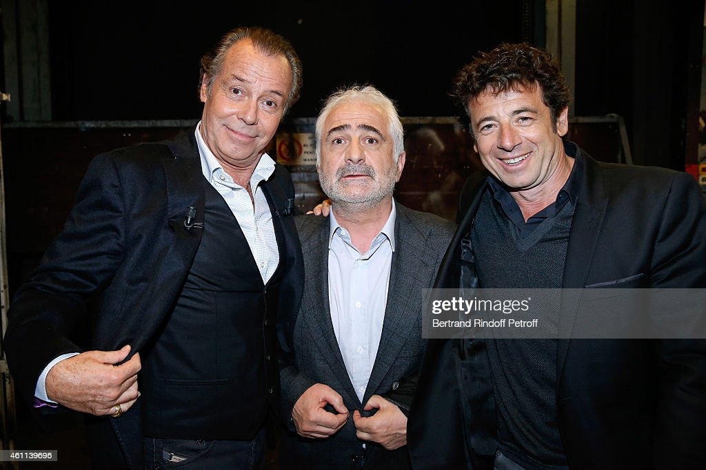 Main guest of the show Michel Leeb, Chef Guy Savoy and singer Patrick Bruel attend the 'Vivement Dimanche' French TV Show at Pavillon Gabriel on January 7, 2015 in Paris, France.