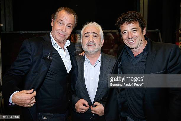 Main guest of the show Michel Leeb Chef Guy Savoy and singer Patrick Bruel attend the 'Vivement Dimanche' French TV Show at Pavillon Gabriel on...