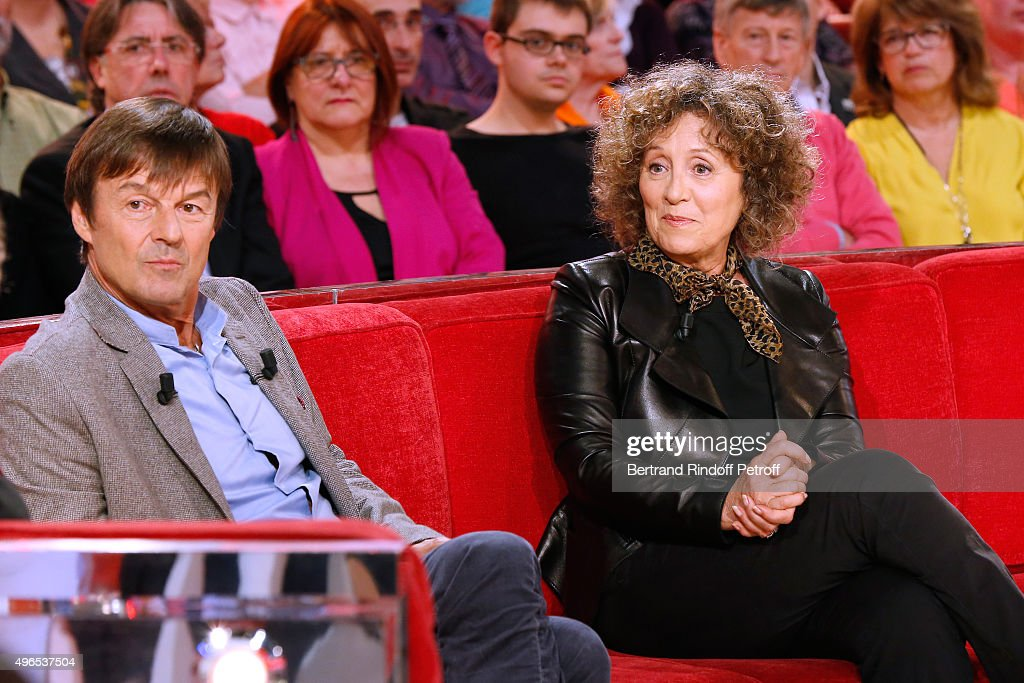 Main Guest of the Show <a gi-track='captionPersonalityLinkClicked' href=/galleries/search?phrase=Nicolas+Hulot&family=editorial&specificpeople=2372364 ng-click='$event.stopPropagation()'>Nicolas Hulot</a> and Journalist Mireille Dumas attend the 'Vivement Dimanche' French TV Show at Pavillon Gabriel on November 10, 2015 in Paris, France.