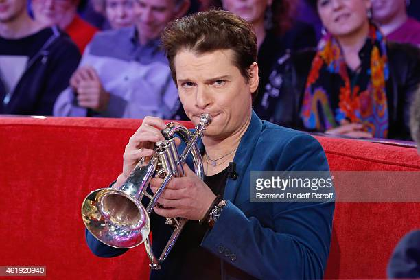 Main Guest of the show singer Benabar plays trumpet and presents his album and tour 'Inspire de faits reels' during the 'Vivement Dimanche' French TV...