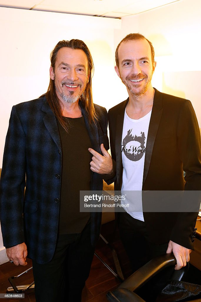 Main guest of the show, singer Florent Pagny and singer Calogero who is the songwriter and composer of 'Vieillir avec toi', the new album of Florent, attend 'Vivement Dimanche' French TV Show. Held at Pavillon Gabriel on January 15, 2014 in Paris, France.