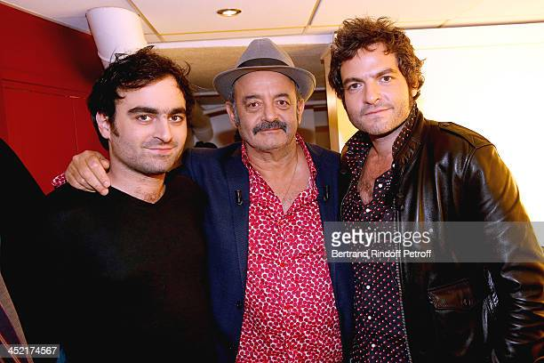 Main guest of the show singer Louis Chedid with his sons musician Joseph Chedid and singer Mathieu Chedid attend 'Vivement Dimanche' French TV Show...