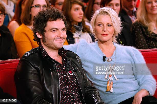 Main guest of the show singer Mathieu Chedid 'M' and actress and artist Florence Thomassin attend 'Vivement Dimanche' French TV Show at Pavillon...