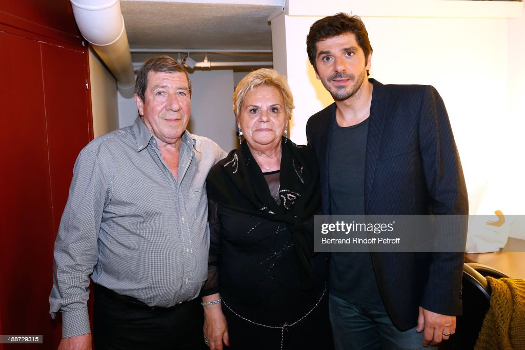 Main guest of the show singer Pattrick Fiori (R) and his parents Marie Antoinette Fiori and Jacques Chouchayan attend the 'Vivement Dimanche' French TV Show, held at Pavillon Gabriel on May 14, 2014 in Paris, France.