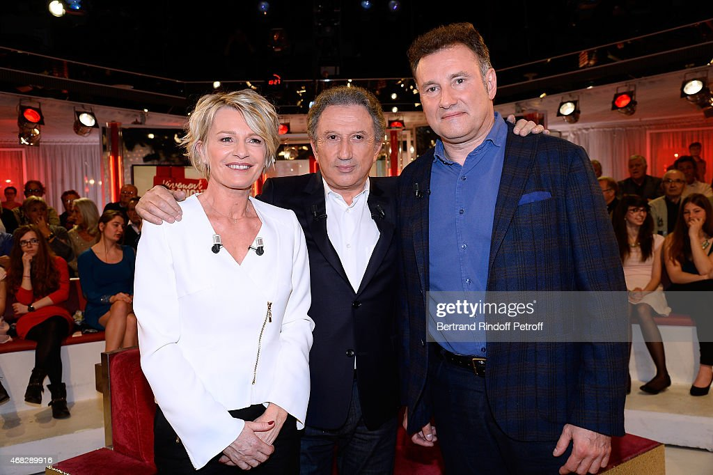 Main guest of the show Sophie Davant, presenter of the show Michel Drucker and Pierre Sled attend the 'Vivement Dimanche' French TV Show at Pavillon Gabriel on April 1, 2015 in Paris, France.