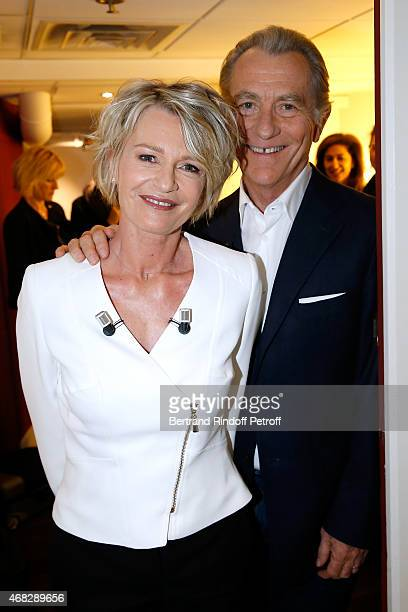 Main Guest of the show TV Host Sophie Davant and TV Host William Leymergie attend the 'Vivement Dimanche' French TV Show at Pavillon Gabriel on April...