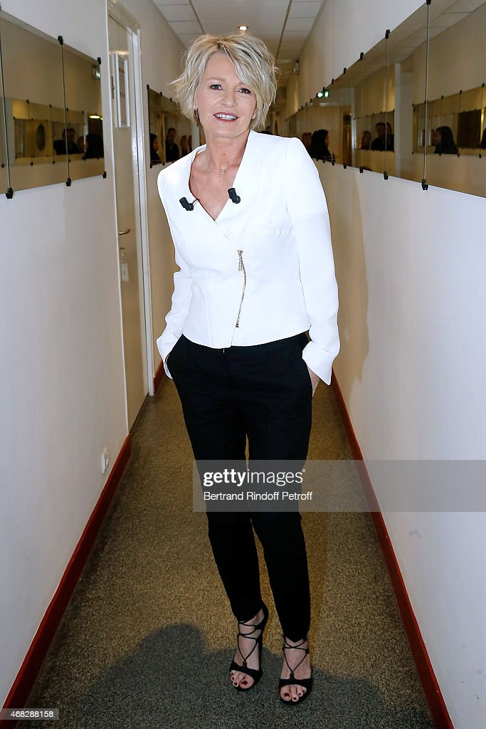Main Guest of the show, TV Host Sophie Davant attends the 'Vivement Dimanche' French TV Show at Pavillon Gabriel on April 1, 2015 in Paris, France.