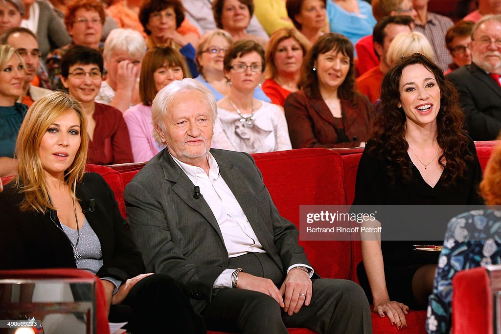 Main guiest of the show actress mathilde Seigner with Stage Director Niels Arestrup and his wife actress Isabelle Le Nouvel who present the theater play 'Big Apple' at the 'Vivement Dimanche' French TV show at Pavillon Gabriel on May 14, 2014 in Paris, France.