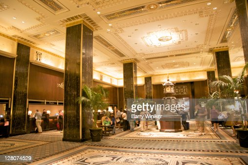 Main lobby, The Waldorf-Astoria, New York, NY, Designed by Schultze and Weaver, 1929-31 in Art Deco style : Stock Photo