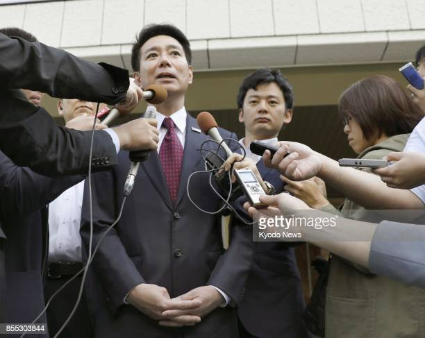 Main opposition Democratic Party leader Seiji Maehara meets with reporters on Sept 29 in Tokyo after talking with Tokyo Gov Yuriko Koike The two...