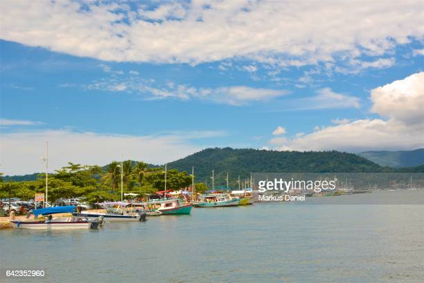Main pier and tourist boats in the town of Paraty, Rio de Janeiro