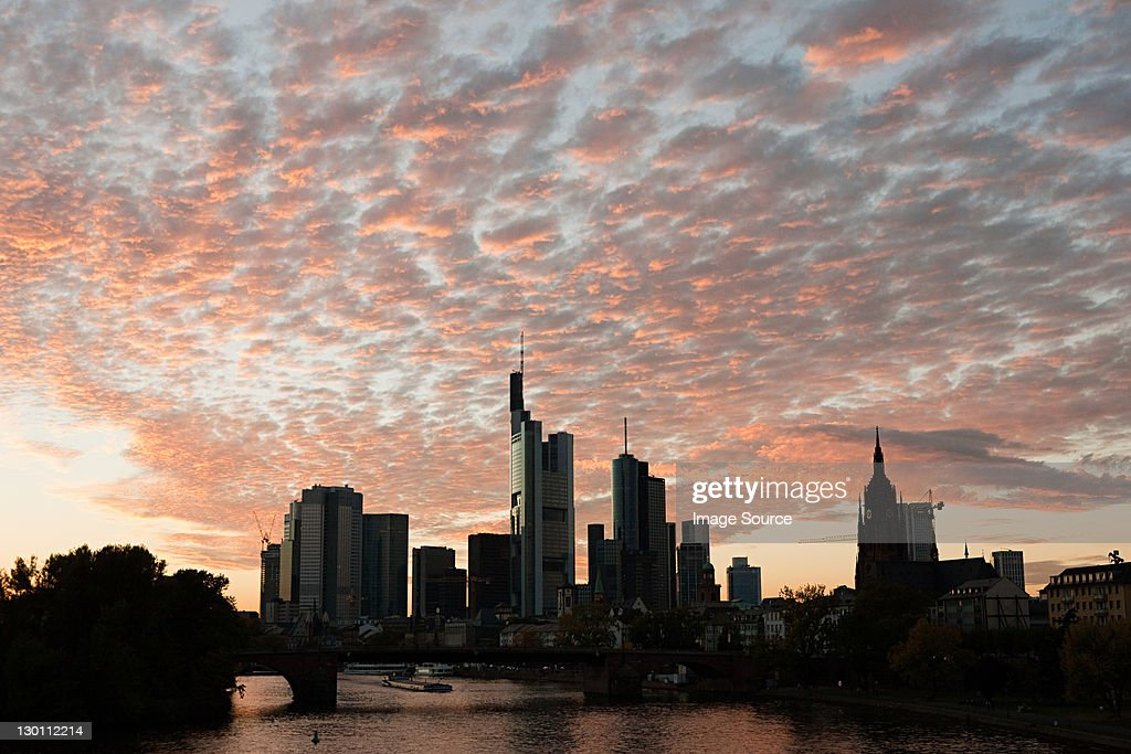 Main River and city skyline at sunset, Frankfurt, Germany
