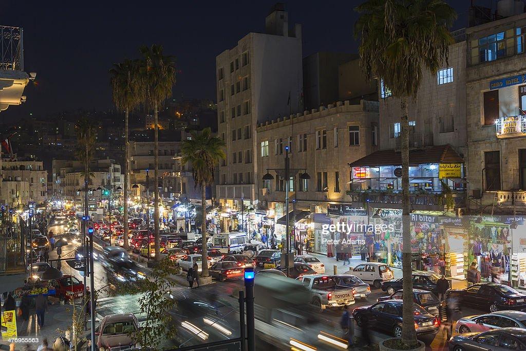 Main shopping street dusk, downtown Amman, Jordan