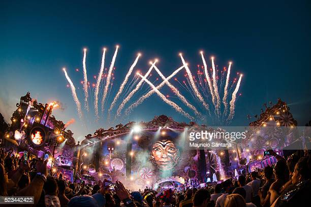 Main stage with fireworks during the second day of the Tomorrowland music festival at Parque Maeda Itu on April 22 2016 in Sao Paulo Brazil
