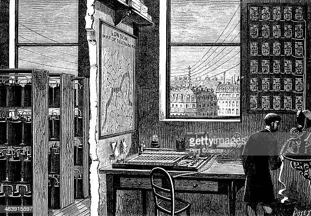 Main station of the Exchange Telegraph Company London 1882 An operator receives a message on a tickertape machine A Morse transmitting instrument is...