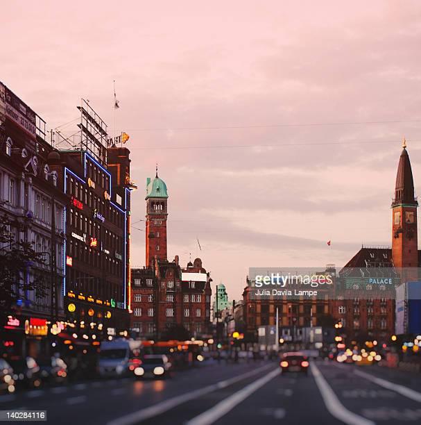 Main street in central Copenhagen at sunset