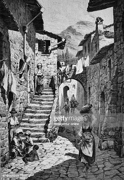 Main street in gori the regional capital of shida kartli eastern georgia wood engraving 1880