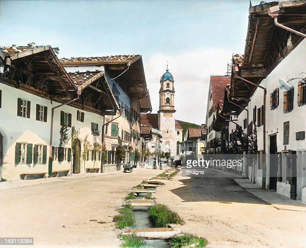 Main street in Mittenwald Bavaria Germany Handcolored lantern slide around 1905