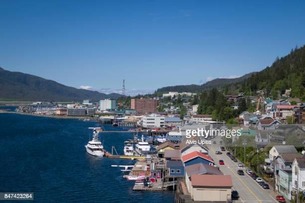 Main street of Ketchikan Alaska with waterfront.