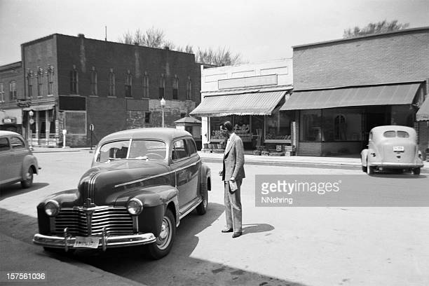 main street of small town USA with cars 1941, retro