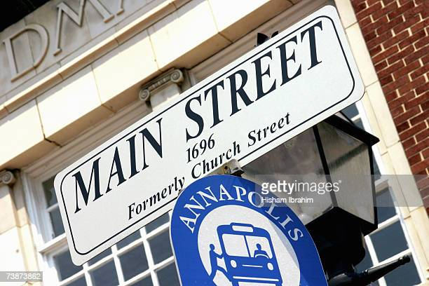 Main Street street name sign, Formerly Church Street, Annapolis, Maryland, USA