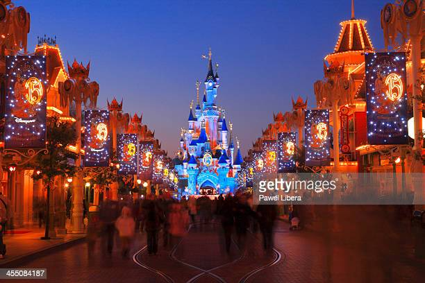 Main Street USA and Sleeping Beauty Castle at Disneyland Resort Paris during Christmas Celelbrations