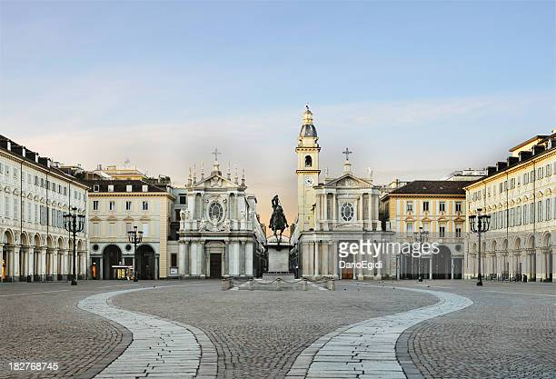 Main view of San Carlo square, twin churches, Turin