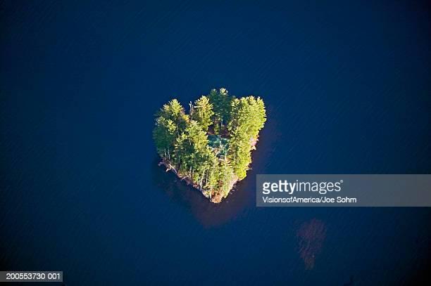 USA, Maine, Acadia National Park, heart-shaped island, aerial view