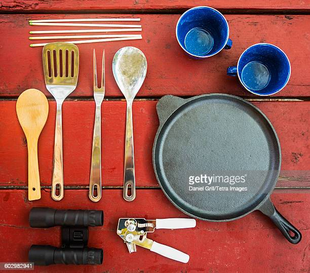 USA, Maine, Acadia National Park, Skillet, cups and cooking utensils on picnic table