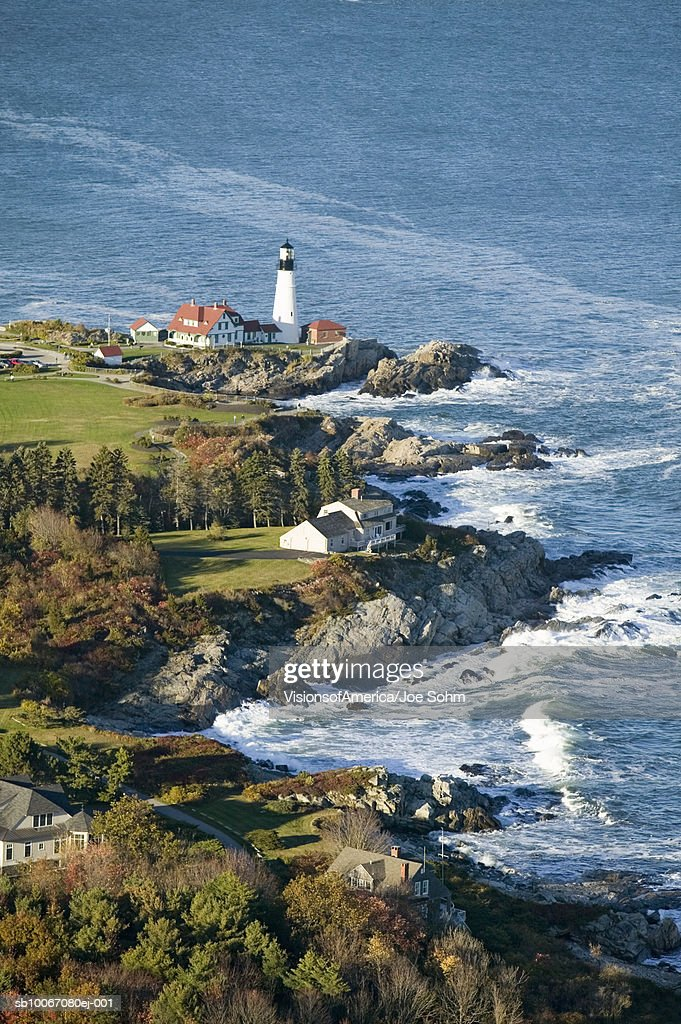 USA, Maine, Cape Elizabeth, aerial view of Portland Head Lighthouse : Stock Photo