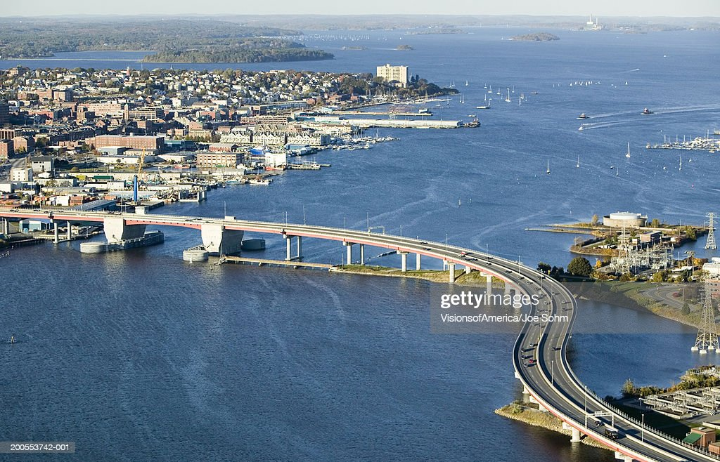 USA, Maine, Casco Bay Bridge from downtown Portland, aerial view : Stock Photo