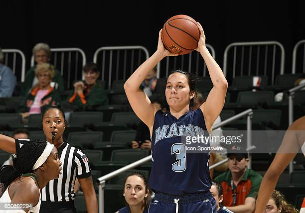 Maine guard Naira Caceres plays during an NCAA basketball game between the University of Maine Black Bears and the University of Miami Hurricanes on...