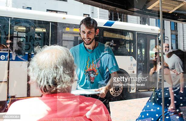 Maine People's Alliance Canvas Director Daniel Sipe canvases for a minimum wage increase statewide in Portland ME on Thursday August 27 2015 'I speak...