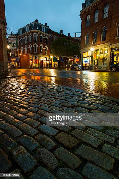 USA, Maine, Portland, Fore Street at dusk