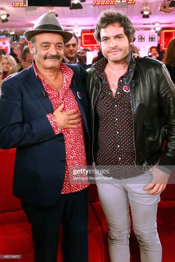 Mains guests of the show, singers Louis Chedid (L) and his son <a gi-track='captionPersonalityLinkClicked' href=/galleries/search?phrase=Mathieu+Chedid&family=editorial&specificpeople=624503 ng-click='$event.stopPropagation()'>Mathieu Chedid</a> 'M' (R) attend 'Vivement Dimanche' French TV Show at Pavillon Gabriel on November 26, 2013 in Paris, France.