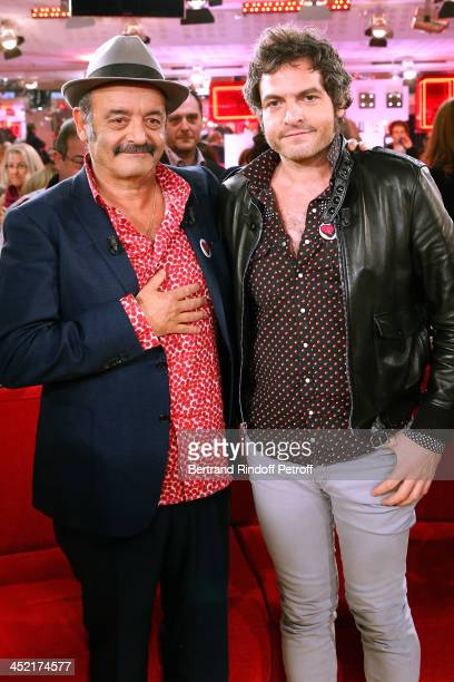 Mains guests of the show singers Louis Chedid and his son Mathieu Chedid 'M' attend 'Vivement Dimanche' French TV Show at Pavillon Gabriel on...