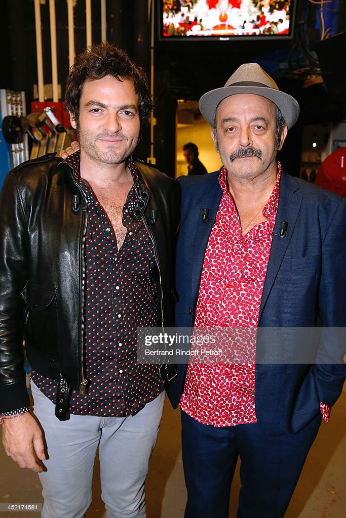 Mains guests of the show, singers Louis Chedid (R) and his son <a gi-track='captionPersonalityLinkClicked' href=/galleries/search?phrase=Mathieu+Chedid&family=editorial&specificpeople=624503 ng-click='$event.stopPropagation()'>Mathieu Chedid</a> 'M' (L) attend 'Vivement Dimanche' French TV Show at Pavillon Gabriel on November 26, 2013 in Paris, France.