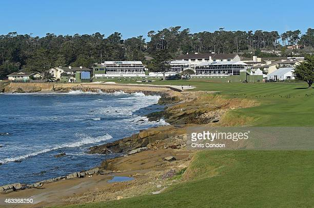 Maintenance workers prepare the 18th hole during the second round of the ATT Pebble Beach National ProAm at Pebble Beach Golf Links Spyglass Hill...