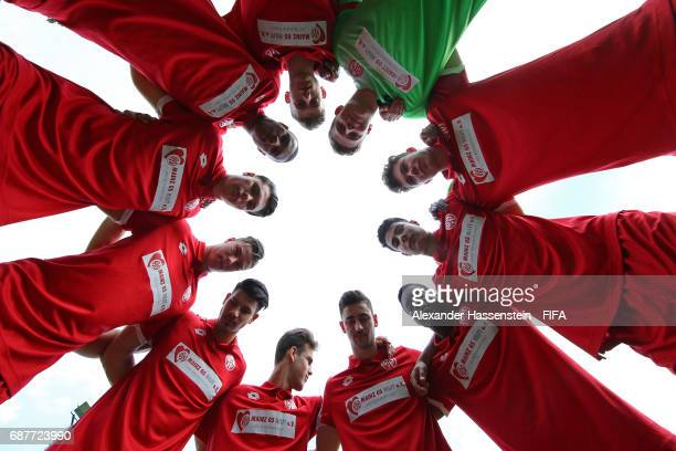 Mainz 05 players form a huddle prior to their match against Sport Lisboa e Benfica on day one of the Blue Stars/FIFA Youth Cup 2017 at the Buchlern...