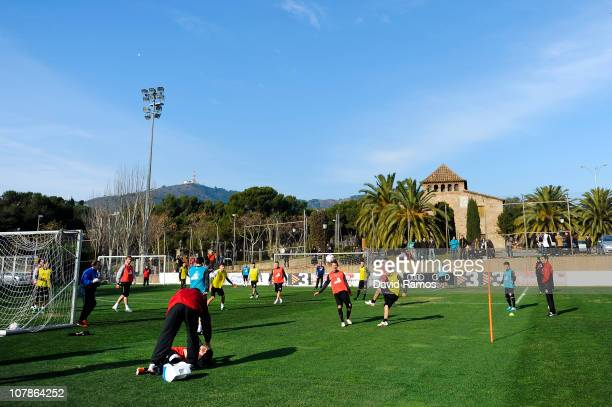 Mainz 05 players train during a training camp session at Camp Nou on January 4 2011 in Barcelona Spain