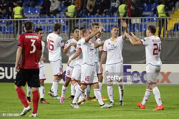 Mainz 05's players celebrate scoring a goal during the Europa League Group C football match between Qabala SC and Mainz 05 in Baku on September 29...