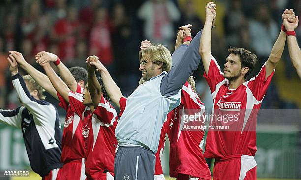 Mainz celebrates their 20 victory with headcoach Juergen Klopp after the UEFA Cup Qualification Round match between Mainz 05 and IB Keflavik at the...