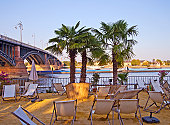 Beach Lounge near the river Rhine at disk in Mainz, Rhineland-Palatinate, Germany