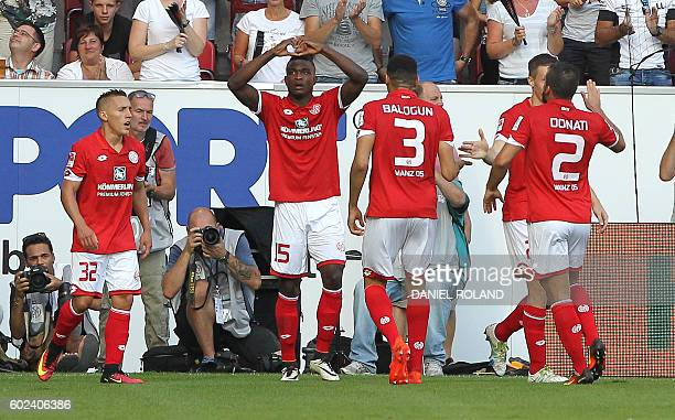 Mainz' Colombian forward Jhon Andres Cordoba celebrates scoring the 30 during the German first division Bundesliga football match between FSV Mainz...