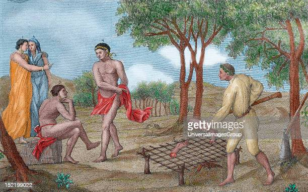 Maipure Indians inhabitants of the Upper Orinoco river grilling the legs of a dead enemy Italian Engraving 1781 Colored