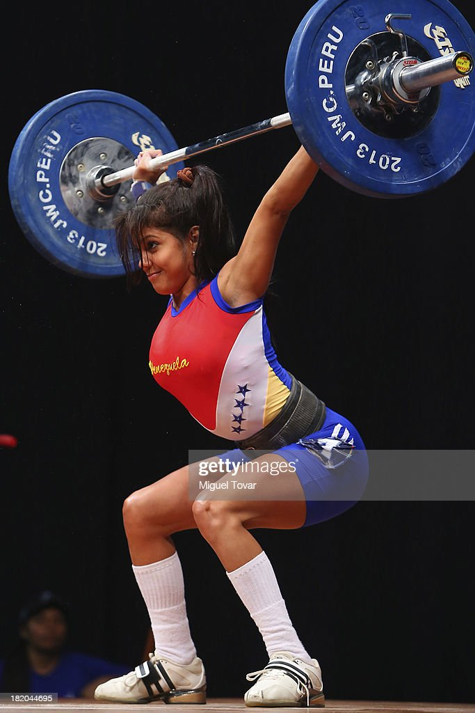 Maira Pardo of Venezuela competes in women's 48 kg as part of the I ODESUR South American Youth Games at Coliseo Miguel Grau on September 27, 2013 in Lima, Peru.