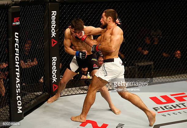 Mairbek Taisumov punches Damir Hadzovic in their lightweight bout during the UFC Fight Night event at the Arena Zagreb on April 10 2016 in Zagreb...