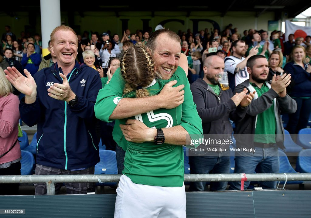 Mairead Coyne of Ireland celebrates following the Women's Rugby World Cup 2017 match between Ireland and Japan on August 13, 2017 in Dublin, Ireland.